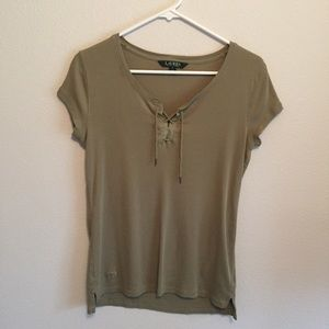 Ralph Lauren olive green ribbed lace-up tee size M